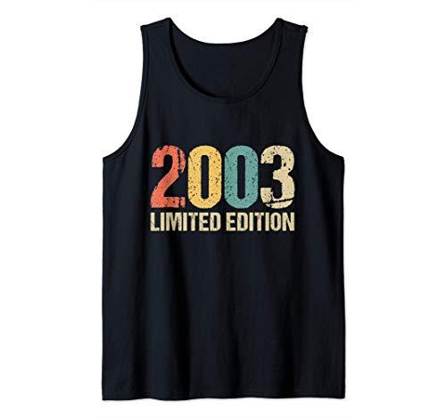 18 Años Cumpleaños Chico Chica Regalo Deco Divertido 2003 Camiseta sin Mangas