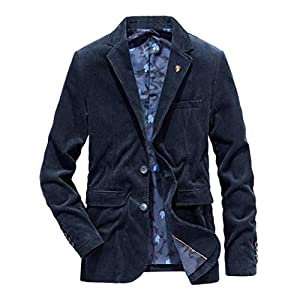 BANKIKU(バンキク) コーデュロイ テーラードジャケット メンズ スーツ コットン 2つボタン ブレザー 男性用 トラベルジャケット ビジネス 上着 ワッペン ブローチ 春 秋冬