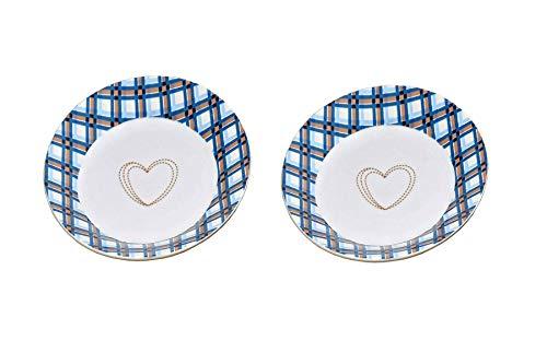 Boltze Susan Lot de 2 assiettes Motif maison de campagne Bleu à carreaux 19 cm