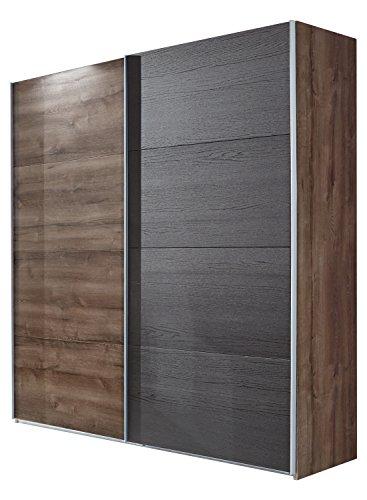Wimex Kleiderschrank/ Schwebetürenschrank Chester, (B/H/T) 225 x 65 x 210 cm, Schlammeiche   / Absetzung   Schwarz