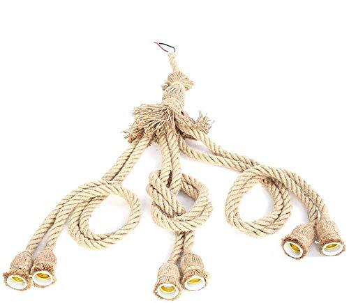 Riuty Lámpara de Cuerda de cáñamo Socket E27 1m 6 Cabezas Cable de Cuerda de cáñamo Soporte de Bulbo de Alambre eléctrico Cordón de Linterna Colgante para Bar Café Restaurante Decoración (3#)