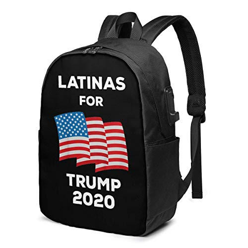 Lawenp Latinas for Trump 2020 President Laptop Backpack with USB Charging Port, Business Bag, Bookbag | Fits Most 17 Inch Laptops and Tablets
