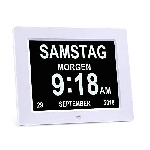 Kjdm Reloj Anciano de 8 Pulgadas Reloj Digital con Calendario y función de Foto, Reloj Digital, Despertador, Calendario para Personas Mayores y Demencia (p. ej. Alzheimer) con función de recordatorio