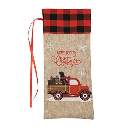 PRETYZOOM Cubierta de Botella de Vino de Navidad Bolsas de Regalo de Vino con Cordón Patrón de Tractores Bolsa de Soporte de Botella de Vino Suministros de Decoración de Fiesta de Navidad