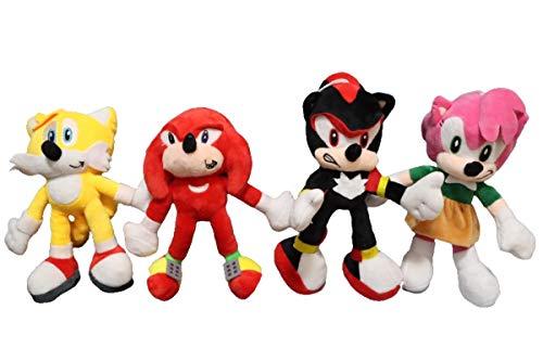 XINQIANG Sonic The Hedgehog 4pcs/lot Juguetes de felpa Sonic el erizo plata Sonic Peluche Juguetes Lindo de peluche Niños Regalos Bebé Niños Niños Grandes Juguetes Suave Para Niños