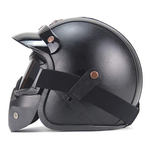 Motorradhelm Offenes Gesicht Vintage Lederhelme Chopper Fahrradhelm Offenes Gesicht Vintage Motorradhelm mit Brillenmaske
