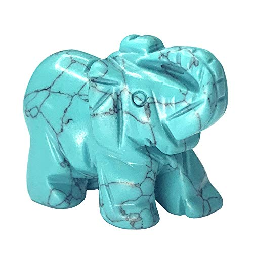 Carved Healing Crystals Gemstones Elephant Statue Figurine Collectible Decor 1.5 inches (Green Turquoise)