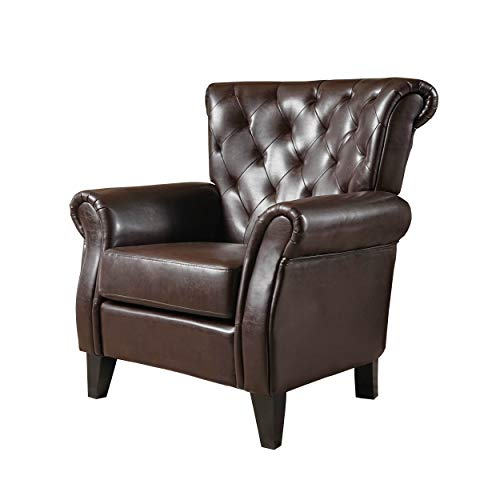 Christopher Knight Home Greggory Oversized Tufted Leather Club Chair, Hazelnut Brown