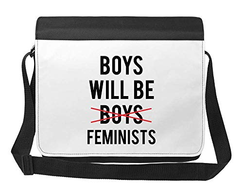 Boys Will Be Feminists Word Boys Crossed Out New Generation Growing Up Borsa a Tracolla Unisex