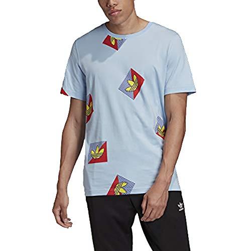 adidas Originals - Camiseta diagonal para hombre - azul - X-Large