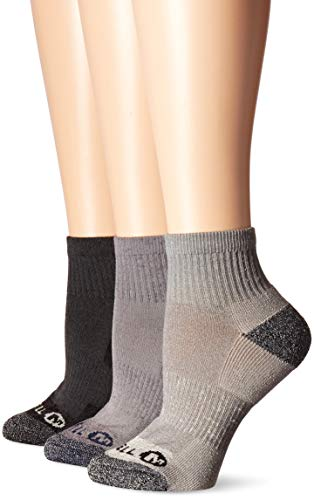 Merrell womens 3 Pack Cushioned Performance Hiker (Low Cut/Quarter/Crew) Hiking Socks, Charcoal Black (Quarter), Shoe Size 4-10 US