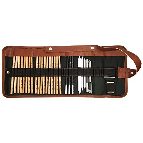lunaoo COOJA Set de Lapices de Dibujo, Lapiz Kit de Arte Material de Dibujo con Lapices Grafito e Lapices Carboncillo, Set de Artista para Bosquejo