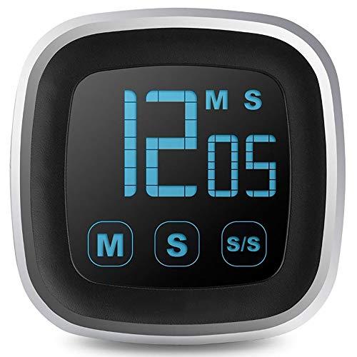 Große LED-Anzeige Küchen-Timer Touch Screen elektronische Digital Küche kochend Erinnungsalarms Mins Count-Down Up Clock (Color : Black)
