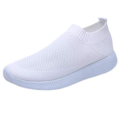 MRULIC Damen Laufschuhe Outdoor Mesh Lässige Sportschuhe Atmungsaktive Schuhe Turnschuhe Sneakers Leichte Gestrickte Schuhe Racer Fitnessschuhe (Weiß,EU-39/CN-40)