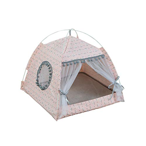 POPETPOP Detachable Pet Bed Tent - Foldable Floral Pattern Cat Bed - Washable Premium Cat Dog Playhouse Pet Playpen - Cat Indoor Outdoor House Camping - Size XL (Pink)