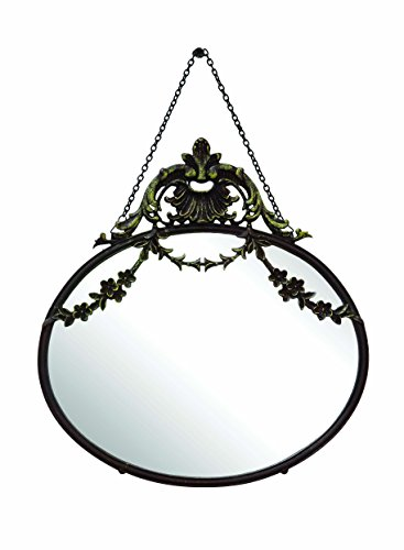 Creative Co-op Antique Inspired Hanging Oval Mirror with Pewter Frame