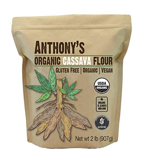 Anthony's Organic Cassava Flour, 2lbs, Batch Tested Gluten Free, Vegan, Non GMO