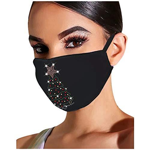 Barlingrock Waschbar Mundschutz Weihnachts-Strass-Punktbohrer Gesichtsmaske, Mehrweg Atmungsaktiv Stoff Bandana Halstuch Tuch, Mund und Nasenschutz
