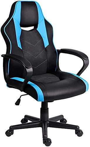 Sedie computer ergonomiche per adulti e bambini, sedie per ufficio, giochi sedia da scrivania in pelle con braccioli imbottiti,Blue