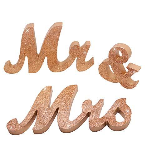 De heer & mevrouw Brieven Houten Bruiloft Teken Decoratie Decoratieve Brieven voor Bruiloft Decoratie Tafeldecoratie Bruiloft Cadeau, Champagne Goud