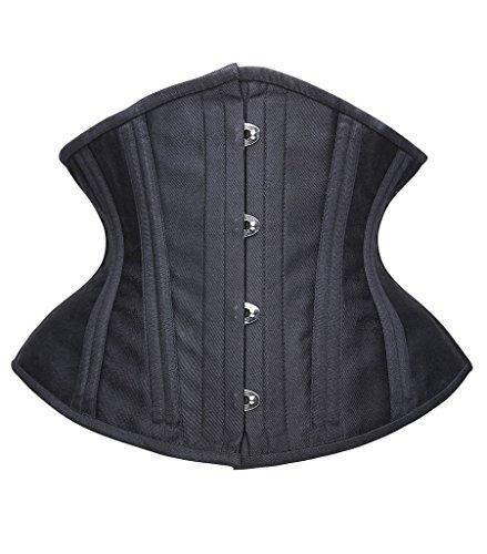 Camellias Short Torso Corset Double Steel Boned Tight Lacing Waist Training Shapewear, UK-SZ7093-Black-M