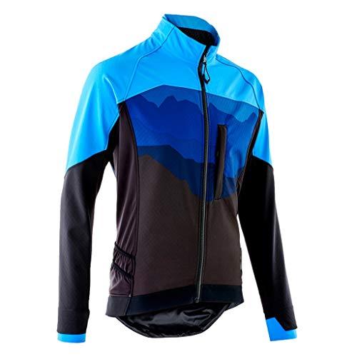 NYKK Skianzüge Männer Cycling Bike Jersey Long Sleeve mit Taschen Feuchtigkeitstransport, atmungsaktiv, Rad Fahren Hemd Verschleißfeste Doppelmanschetten Windjacke for Outdoor Sports warm Jacke