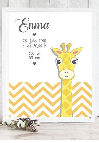 Cuadro de nacimiento modelo jirafa. Personalizado.Puedes elegir entre varios colores de marco y tamaños. Regalo para bebes, nacimiento