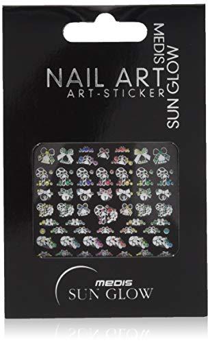 Medis Sun Glow 4630 Lot de 4 stickers pour nail art Blanc/jaune/orange/rouge/vert/bleu/rose Motif 4630
