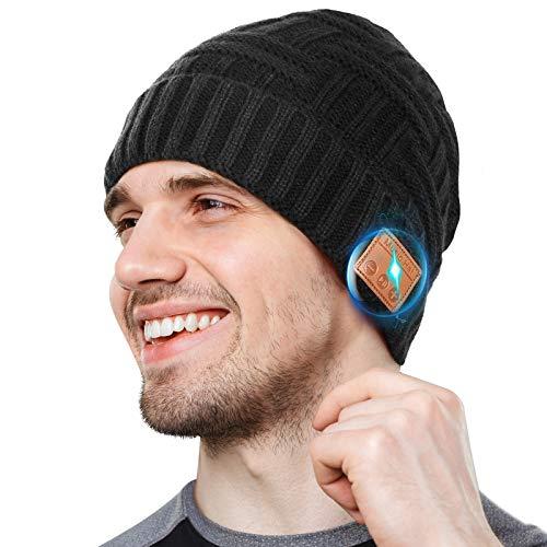 Bluetooth Mütze Geschenke für Männer, Bluetooth5.0 Winter Musik Strickmütze mit Drahtlosen Stereolautsprecher Waschbare Mütze Fit Outdoor Sport, Geschenke zu Weihnachten&Paare für Männer Frauen