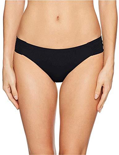 Trina Turk Women's Shirred Side Hipster Pant Bikini Swimsuit Bottom, Black/Key Solids, 6