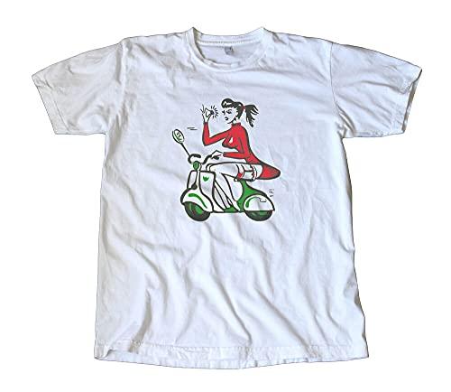 Rare Vintage Scooter Chick Decal T-Shirt Vespa Lambretta Allstate Italian Creative Men's T-Shirts