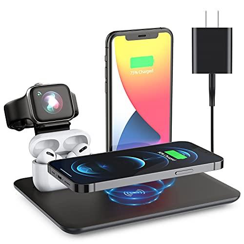 Estación de carga inalámbrica 4 en 1 para iWatch / AirPods/iPhone12 / Max, iPhone 11 y Samsung, etc.