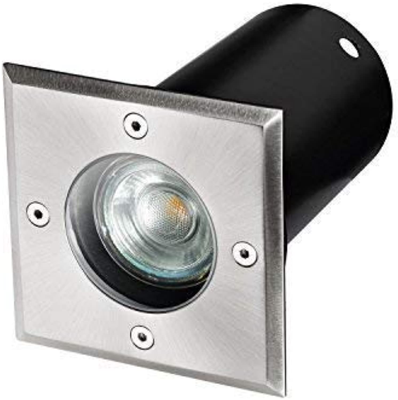 Bodeneinbauleuchte Calypso - 5t befahrbar - ECKIG - 4 Watt Glas COB LED, 280 Lumen - Warmweiss - 230 Volt GU10-3er Set