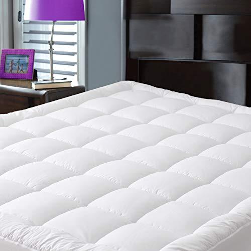 JURLYNE Pillowtop Mattress Pad Cover Queen Size - Hypoallergenic - Cotton Top Down Alternative Filled Mattress Topper