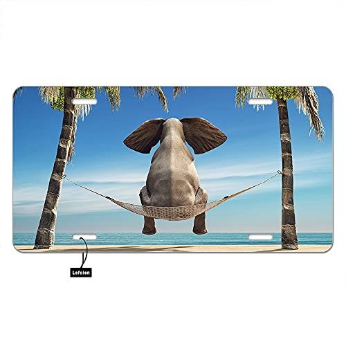 Lefolen Elephant Sit in Hammock Front License Plate Covers Tropical Animal Look at Sea Ocean Beach Palm Trees Decorative Car Mental Plates Vanity Tag Aluminum Novelty License Plate 6 X 12 Inch