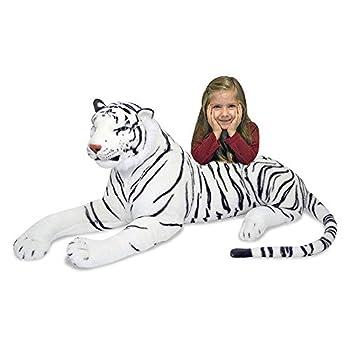 Melissa & Doug Giant Siberian White Tiger - Lifelike Stuffed Animal  over 5 feet long