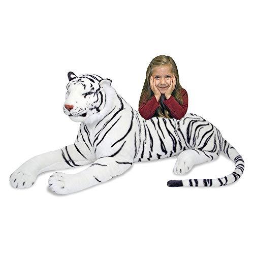 Melissa & Doug Giant Siberian White Tiger - Lifelike Stuffed Animal (over 5 feet long)