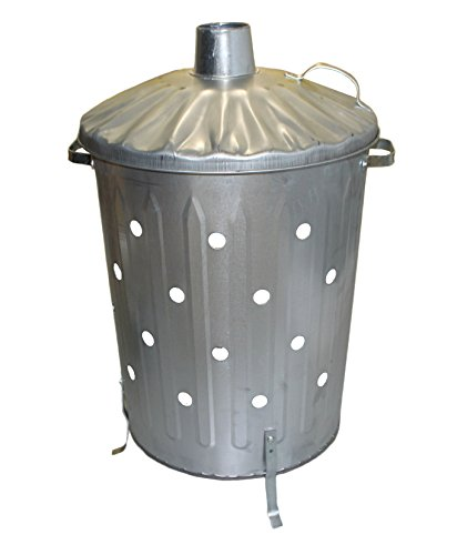 Small / Medium / Large Garden Fire Bin Incinerator Galvanised Ideal for burning Wood / Leaves / Paper (90 Litre Fast Burner) by S&MC Gardenware