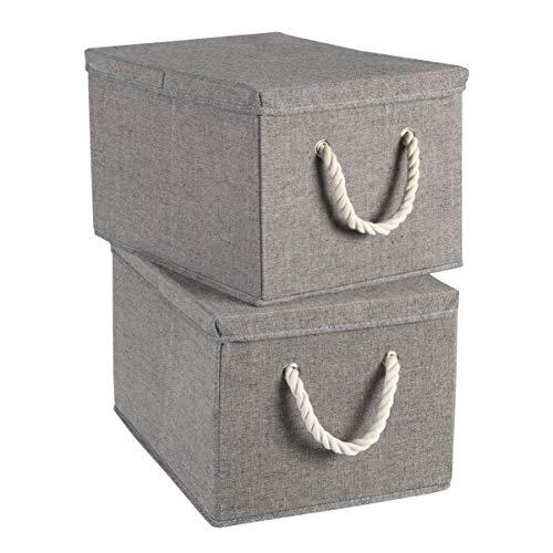TERRA SELL Hochwertige Aufbewahrungsbox mit Deckel aus Stoff zum Falten mit weißen Seilgriffen, Kordelgriffen/Ordnungsbox/Sortierbox/Faltboxen im 2er-Set 30x25x20cm (grau),