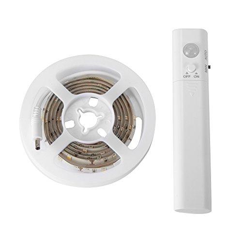 Wireless PIR Motion Sensor Strip Light 1.2M 45 LED Battery Operated Wardrobe Cabinet Under Bed Night Lamp