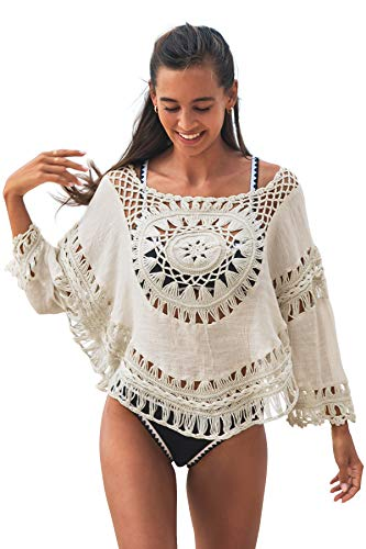 CUPSHE Women's Cover Up White Crochet Hollow Out Swimsuit