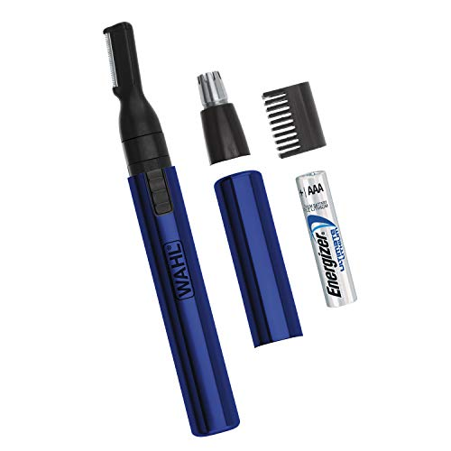 Wahl Lithium Two-In-One Pen Detail Trimmer for Nose, Ear, Neckline, Eyebrow, & Other Detailing - Blue - By the Brand Used By Professionals - Model 5643-200