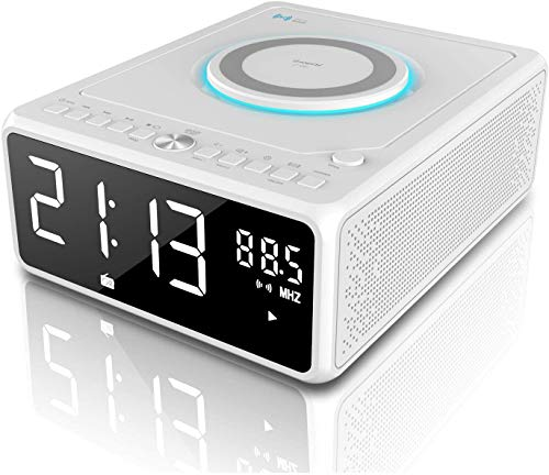 G keni CD Player Boombox stereo system Bedside Alarm Clock Bluetooth Speaker Wireless Smartphone Charger Digital FM Radio (No DAB) Portable MP3 USB Music Player Dimmable Mirror LED Display