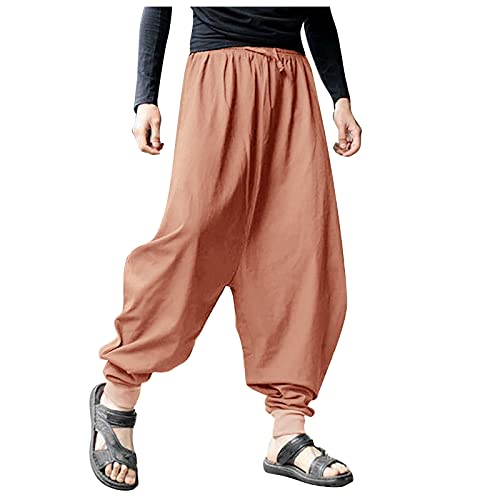 Haremshose Herren Hose Vintage Lockere Große Größe Baumwolle Leinen Cargohose Yogahose Weite Hose Hip Hop Streetwear Pumphose Sommerhose Freizeithose