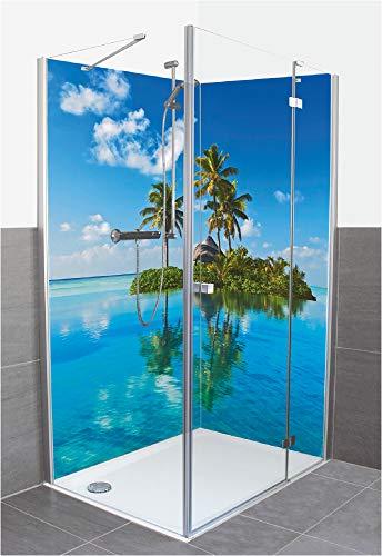 Artland Duschrückwand Eck mit Motiv Fliesenersatz Alu Rückwand Dusche Duschwand Bad 180x200 cm Strand Karibik Malediven Insel Palme Meer Blau T5MX