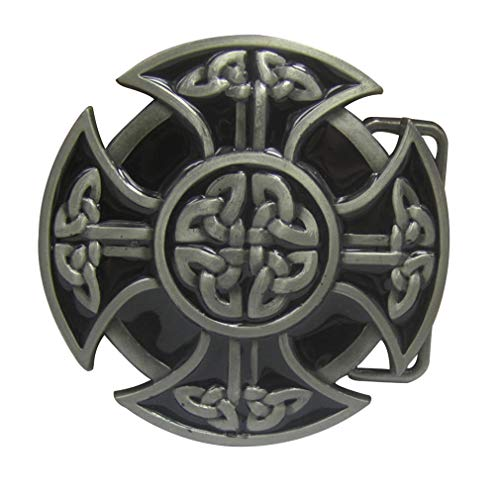 LKMY Gürtelschnalle mit keltischem Kreuz, keltischer Knoten, für Herren und Damen Gr. onesize, B