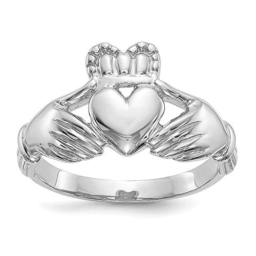 14k White Gold Mens Irish Claddagh Celtic Knot Band Ring Size 9.00 Man Fine Jewellery For Dad Mens Gifts For Him