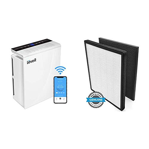 LEVOIT Smart Wifi Air Purifier for Home, Extra-Large Room with H13 True HEPA Filter & Air Purifier LV-PUR131 Replacement Filter, True HEPA & Activated Carbon Filters Set, LV-PUR131-RF