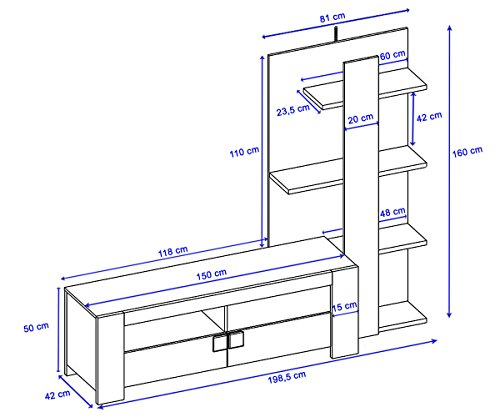 Wohnwand Lisburn, Wandregal Raumteiler Schrankwand, 3D-Struktur Eiche-Optik 199x160x42cm - 3