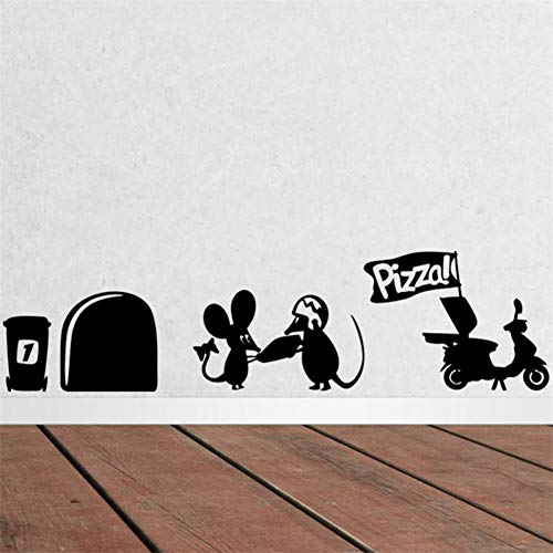 VIOYO Mooie Leuke Kleine Ratten Muis Gat Pizza Voedsel Home Sticker Muurstickers Voor Kinderen Kamers Kleuterschool Keuken Decor